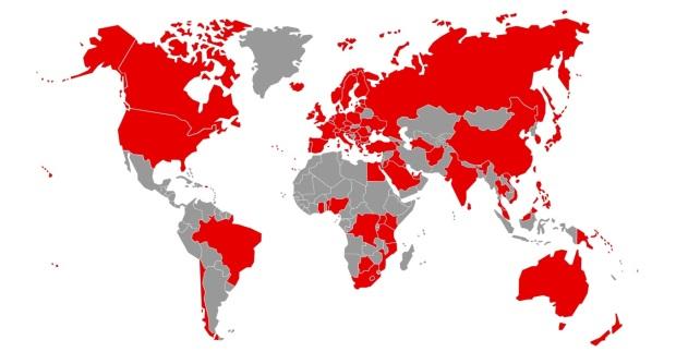 Vodafone World Map 2016